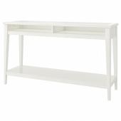 ЛИАТОРП Консольный стол, белый, стекло, 133x37 см