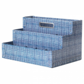 ФЬЕЛЛА Подставка д/канцелярских принадлежн, белый, синий, 35x21 см