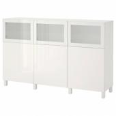 БЕСТО Комбинация для хранения с дверцами, белый Сельсвикен, Глассвик глянцевый/белый матовое стекло, 180x42x112 см