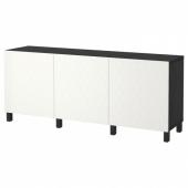 БЕСТО Комбинация для хранения с дверцами, черно-коричневый, вассвик/стуббарп белый, 180x40x74 см