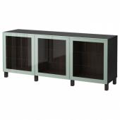 БЕСТО Комбинация для хранения с дверцами, черно-коричневый Глассвик, глянцевый/серо-зеленый светлый прозрачное стекло, 180x40x74 см