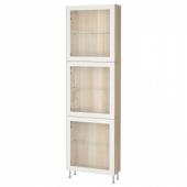 БЕСТО Комбинация д/хранения+стекл дверц, под беленый дуб, глассвик/сталларп белый прозрачное стекло, 60x22x202 см