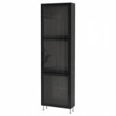 БЕСТО Комбинация д/хранения+стекл дверц, черно-коричневый, глассвик/сталларп черный/прозрачное стекло, 60x22x202 см