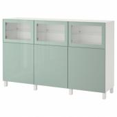 БЕСТО Комбинация для хранения с дверцами, белый Сельсвикен, глянцевый/серо-зеленый светлый прозрачное стекло, 180x42x112 см