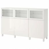 БЕСТО Комбинация для хранения с дверцами, белый Сельсвикен, Глассвик глянцевый/белый прозрачное стекло, 180x42x112 см