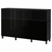 БЕСТО Комбинация для хранения с дверцами, черно-коричневый Сельсвикен, Глассвик глянцевый/черный дымчатое стекло, 180x42x112 см